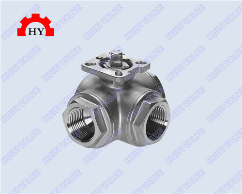 3 way female thread ball valve with mounting pad